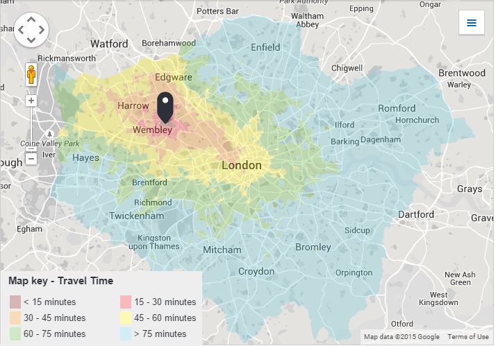 Tottenham London Map.Travel Time Isochron Maps To London Football Stadiums