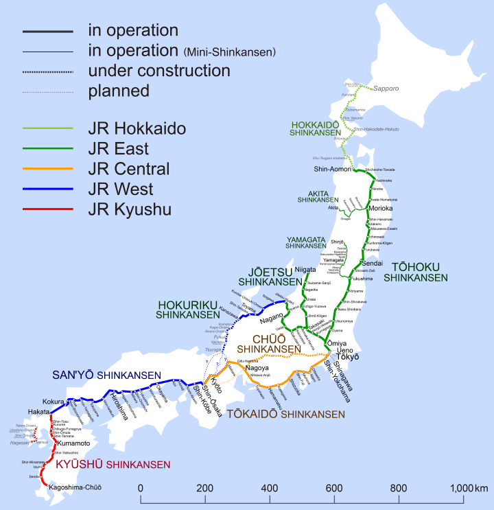 Shinkansen network map 2015