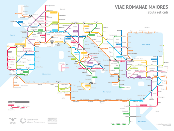 Roman Road Tube Map Circa 125 AD
