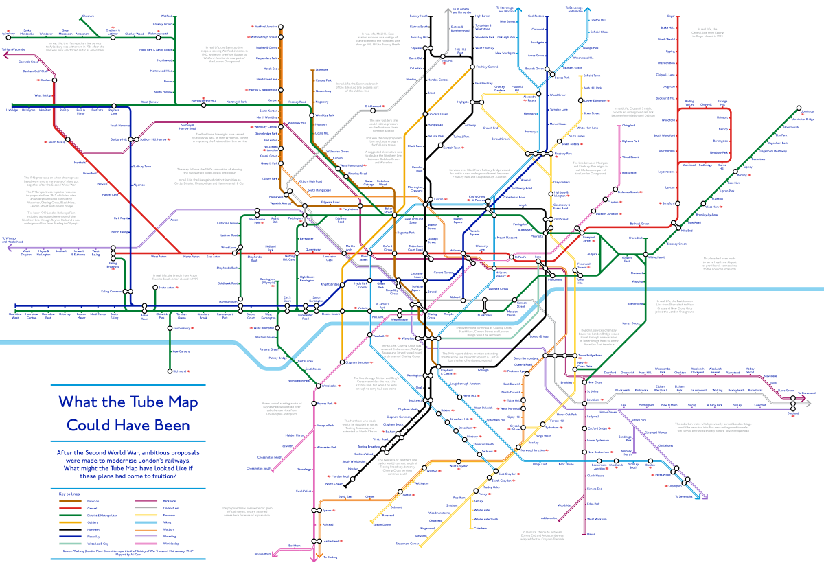 What The Tube Map Could Have Looked Like If Proposals From 1946 Had Been Implemented
